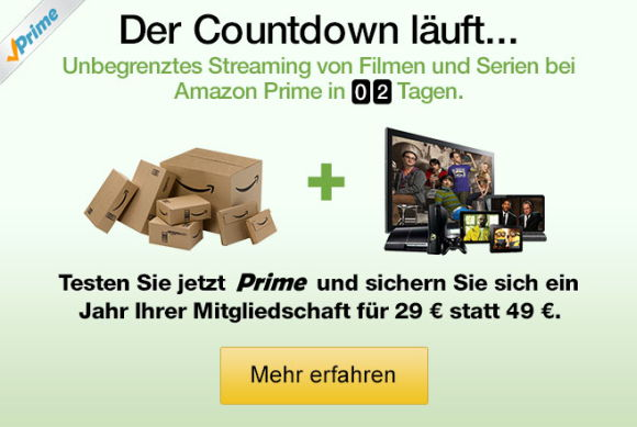 Countdown zu Prime Instant Video